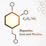 Dopamine molecule. Love and passion concept. Vector Illustration