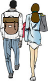 Isolated Vector Illustration of Couple Walking with Bags