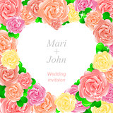 Pink wedding invitation with heart of roses