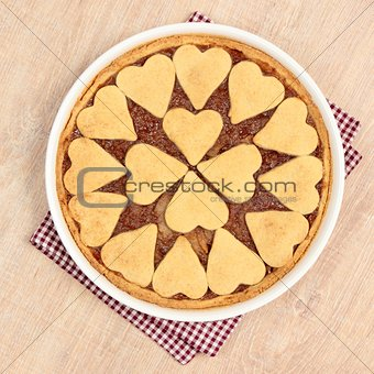 heart spahes on apple pie