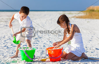 Children, Boy, Girl, Brother & Sister Playing on Beach