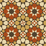 Arabesque seamless pattern in orange and brown