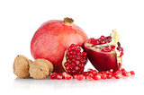 Half pomegranate fruit