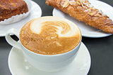 Cup of Caffe Latte with Pastry