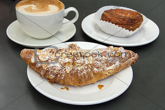 Almond Croissant with Cup of Latte