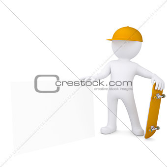 3d white man holding a skateboard and white sheet