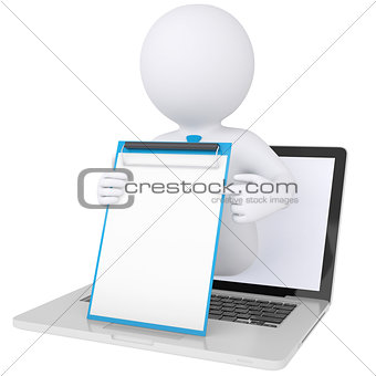 3d white man from the computer holding checklist