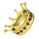 Gold crown decorated with rubies