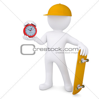 3d white man holding skateboard and alarm clock