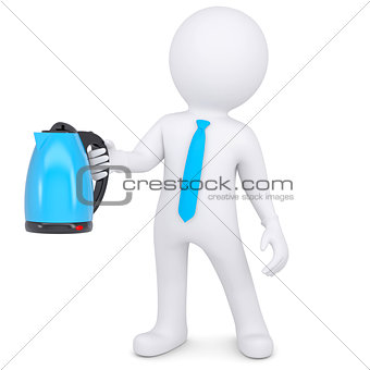 3d white man holding an electric kettle