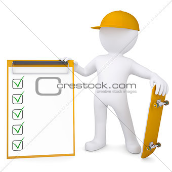 3d white man holding a skateboard and a checklist