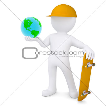 3d white man holding a skateboard and Earth