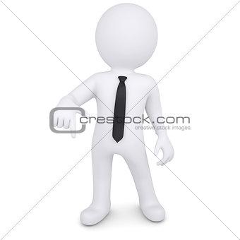 3d white man points a finger down