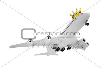 White airplane with the crown