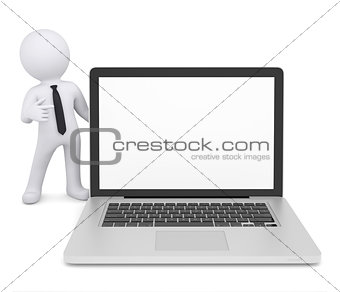 3d white man points a finger at laptop