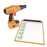 Orange screwdriver and a checklist