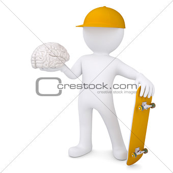 3d white man holding a skateboard and brain
