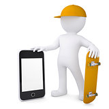 3d white man holding skateboard and smartphone