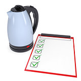 Electric kettle and checklist