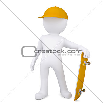 3d white man with a skateboard
