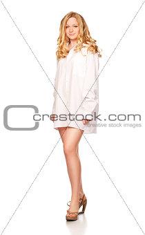 blond women in white shirt