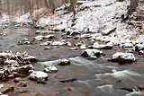 mountain river in snow