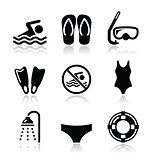 Swimming, scuba diving, sport vector icons set