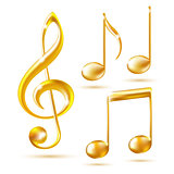 Gold icons of a Treble clef and music notes
