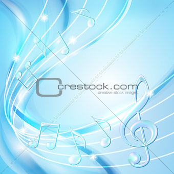 Blue abstract notes music background