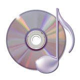 Musical note and cd disk