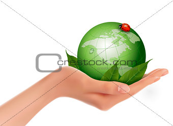 Green world and leaf have love bug in woman hand. Vector illustr