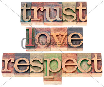trust, love, respect in wood type