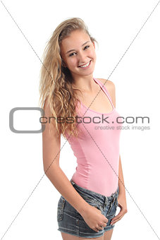Portrait of a beautiful teenager girl student smiling