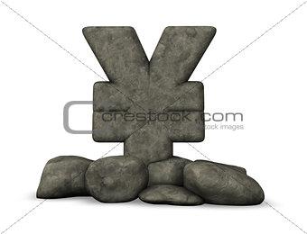 stone yen symbol