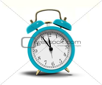 Alarm clock ringing over white