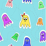 Seamless pattern octopuses