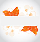 Autumnal seasonal nature background with orange leaves