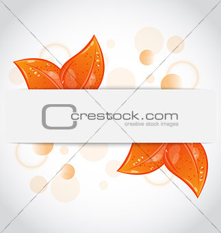 Autumnal seasonal nature background with orange leaves