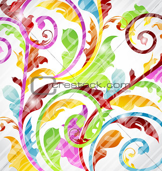 Abstract multicolor ornamental wallpaper, design elements