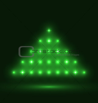 Abstract glowing christmas tree on black background