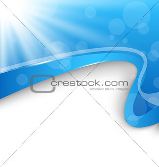 Abstract wavy background with blue rays