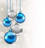 Background with boke and Christmas balls blue and silver