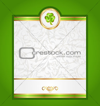 Card with trefoil for Saint Patrick day