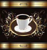 Vintage background for packing coffee, coffee cup