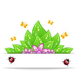 Eco friendly card with green leaves, flower, butterfly and ladyb