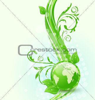 Wavy background with global planet and eco green leaves