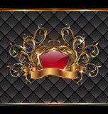 Gold elegance frame with heraldic shield