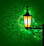 Arabic lamp with lights, card for Ramadan Kareem