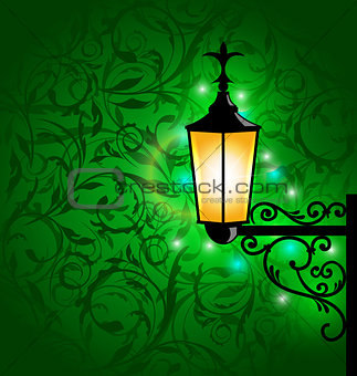 Arabic lamp with lights, card for Ramadan Kareem