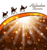 Celebration card with camels for Ramadan Kareem